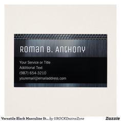 versatile black masculine steel tech business card - Zazzle Business Cards