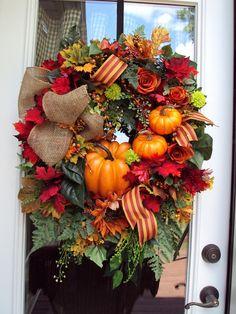 Fall Wreath, Door Wreath, Fall Autumn Rustic Pumpkins Country Berries Thanksgiving Prem Ribbon Door Wreath