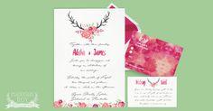Floral Deer Boho ~ Wedding Invitation Suite ~ DIY Template Printable