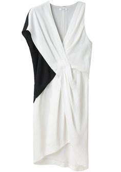 Helmut Lang / Bi-Color Tuck Dress -- Black & white, crepe jersey dress with asymmetric sleeves & draped front detail.    V-neckline / Asymmetric sleeves / Draped tuck detail at front / Asymmetric, dropped blouson waist / Asymmetric hem is longer in back than front / Slightly relaxed fit / Fully lined