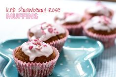 Strawberry Muffins with Rose Icing - Can we say INTRIGUED!  I looooooooove rose things!  I use rose water as a refreshing spray for my face etc.  It's really yummy in food too.  Psyched to try these beautiful muffins for a special occasion.  Actually maybe Thea's First B'day? :) We'll see!