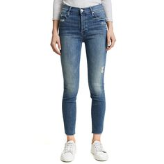 MOTHER Stunner Ankle Fray Jeans ($230) ❤ liked on Polyvore featuring jeans, graffiti girl, high waisted distressed jeans, high-waisted jeans, distressed jeans, blue distressed jeans and destructed jeans