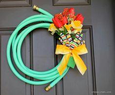 DIY hose reath. Super cute!