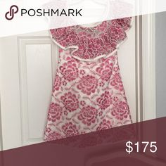 Alexis dress. Never been worn. Empire waist with ruffle on top. Beautiful for weddings or bridal showers. alexis Dresses Mini