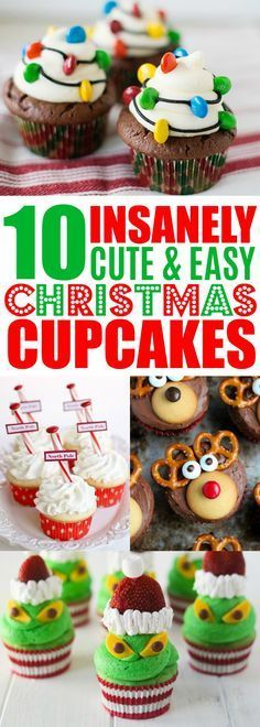 Easy Christmas Cupcake Recipes, Holiday Cupcake Ideas, Decorating Christmas Cupcakes For Kids,Christmas Desserts Christmas Cupcakes Decoration, Holiday Cupcakes, Holiday Desserts, Holiday Baking, Holiday Treats, Holiday Recipes, Cupcakes Kids, Party Recipes, Easy Christmas Recipes