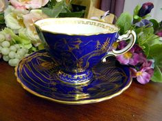 Cobalt Blue Hammersley Quadrafoil Oriental Teacup Tea Cup and Saucer 7702. $65.00, via Etsy.