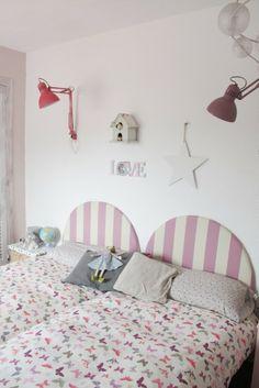 Cabecero cama infantil imaginaierro castillo rosa fucsia - Cabeceros infantiles tapizados ...