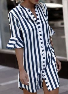 2019 Women Blouse Dress Ladies Striped Long Shirt Dress Loose Button Women Striped Half Sleeve Vintage Female Vestidos Size S Color Blue Half Sleeve Shirts, Bell Sleeve Shirt, Shirt Sleeves, Half Sleeves, Casual Dresses, Fashion Dresses, Dresses Elegant, Cheap Dresses, Mode Boho