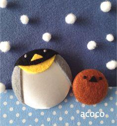 ペンギン親子のくるみボタンブローチ