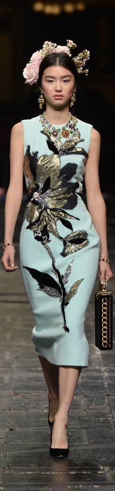 Dolce & Gabbana Spring 2016 Couture. Typical embellishments for D&G, but against a pale mint dress.