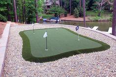 Installing A DIY Backyard Putting Green - Modern Design Home Putting Green, Outdoor Putting Green, Backyard Patio, Backyard Landscaping, Backyard Ideas, Golf Green, Outdoor Living, Golf Courses, Building