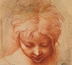 Tête d'un enfant regardant vers le bas - 9,4x8,6cm - sanguine, estompe