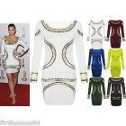 Womens Gold Foil Mini Dress Celebrity KIM KARDASHIAN Bodycon Tunic Short Midi