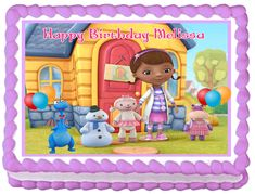 Shop for on Etsy, the place to express your creativity through the buying and selling of handmade and vintage goods. Old Kids Cartoons, Birthday Smiley, 2nd Birthday, Birthday Ideas, Doc Mcstuffins Birthday Cake, Happy Birthday Melissa, Frosting Colors, Character Cakes, Edible Cake Toppers