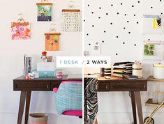 Un escritorio con dos estilismos diferentes