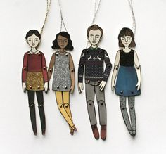 HOLIDAY SPECIAL paper doll ornament by JordanGraceOwens on Etsy, $10.00