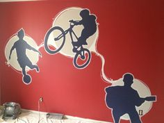 silhouette, circles adding energy and contrast to shapes, strong back ground colour Kids Bedroom Paint, Cool Kids Bedrooms, Bedroom Murals, Kids Rooms, Girls Bedroom, Bedroom Ideas, Dirt Bike Room, Soccer Bedroom, Apple Painting