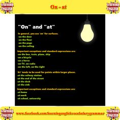 on and at explained with examples - learning basic English