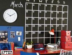 Chalkboard wall calendar for the office, using chalkboard paint