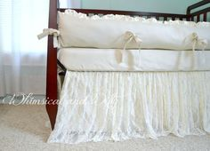 Lace Baby Crib Bedding - Ivory Cotton and Minky - Ruffled Lace Crib Skirt - Cotton Crib Sheet