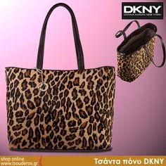 Τσάντα πόνυ leopard DKNY    shop online >> http://www.styledropper.com/tsouderos?pid=13084=el    Μαύρη ή leopard η τσάντα πόνυ ποτ προτείνει η DKNY. Απλή σε design, για πολλούς, εύκολους συνδυασμούς. Κλείνει με κλιπ. Διαστάσεις Μ 43 Χ Υ 31
