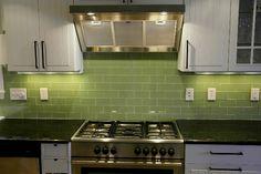 green subway tile kitchen backsplash | Supreme Glass Tiles – Light Green Subway Tile
