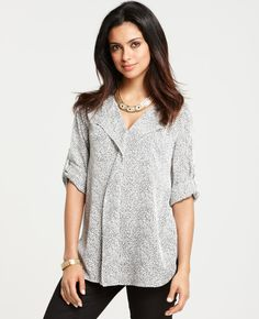 Ann Taylor - AT Petite New Arrivals - Petite Dot Print Roll Sleeve Tunic