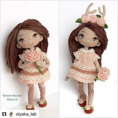 Isn't she lovely? We love the details! Doll made by @olyaka_lab  #crochet #amigurumi#dolls#instagood#happy#handmade