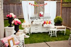Doing this dresser buffet for my Bridal shower! We got a pretty dresser with a mirror! Bridal Shower Party, Bridal Shower Rustic, Bridal Shower Decorations, Bridal Showers, Drink Bar, Drink Table, Drink Display, Shower Inspiration, Vintage Bridal