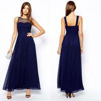 Sexy Sheer sleeveless Navy Blue long  prom dress/evening dress vestidos de gala 2014-120$