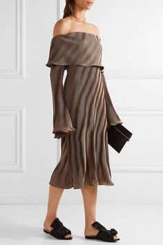 Beaufille - Andura Off-the-shoulder Ribbed-knit Midi Dress - Bronze