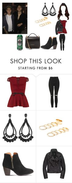 """Night out with Luke and Niall"" by cavallaro ❤ liked on Polyvore featuring Fever Fish, Topshop, Oscar de la Renta, Forever 21, Office, Mackage and Givenchy"