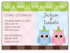 Party Anim-OWLS Girl-Boy Twins Birthday Invitation - Custom Twins Birthday Invitations from the leader in Twins & Multiples stationery products - www.amyscardcreations.com - Cards as low as $1.15 - Thank you for shopping with me and supporting small business!