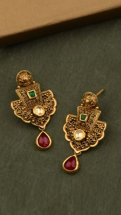 AZVA gold earrings with vibrant stones Gold Jhumka Earrings, Indian Jewelry Earrings, Gold Earrings Designs, Gold Jewelry, Bridal Jewellery, Handmade Jewellery, Ring Designs, Jewelery, Jewelry Bracelets