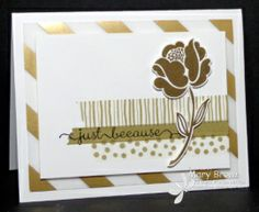 2014 Stamp sets  Simple Stems, Delightful Dozen Paper, Whisper White, Gold Fancy Foil Designer Vellum Ink:	StazOn Jet Black, Versamark Other:	Watercolor Wonder Washi Tape, Gold Embossing Powder, Dimensionals