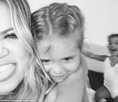 Party girls: Khloe Kardashian (left) posted photos and a video of nieces Penelope Disick (...