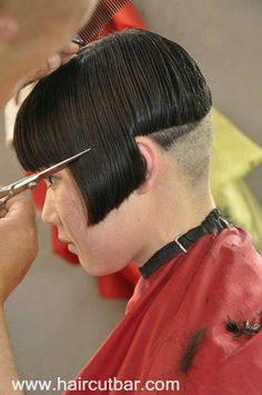 After some unacceptable behaviour Brian is taken back to the salon for a more severe bowl cut. Shaved Hair Women, Shaved Hair Cuts, Short Hair Cuts, Short Hair Styles, Shaved Bob, Shaved Undercut, Shaved Nape, Chili Bowl Haircut, Shaving