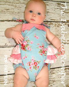 Baby sewing pattern for romper sunsuit, PDF Sewing pattern for baby girls toddler, Clothing pattern, Instant Download, The Isabella Romper