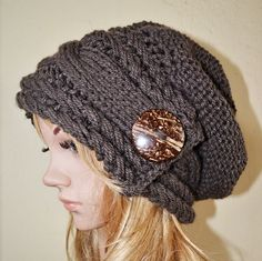A fashionable slouchy style, thick and extra-warm beanie created with a a beautiful acrylic high-quality yarn and button. Able to be worn with practically any outfit you desire! This hat best fits an average to larger womens adult / teen head size. Washing instructions : Hand wash, dry flat. All items from BeanieVille are handmade and available, ready to ship unless stated otherwise as Made To Order in the heading title. * Prepared in a pet-free and smoke-free home, packaged with care. * ...