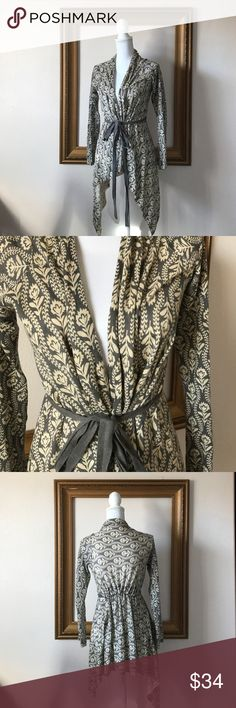 Anthropologie: Field Flower patterned cardigan, S Beautiful addition to any wardrobe! Gray and cream, floral pattern. No signs of wear! No pilling, snags, etc. Anthropologie Sweaters Cardigans