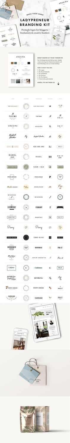 Ladypreneur Branding Kit - Photoshop and Illustrator templates. 100 professional branding elements designed to take your online presence from default to delightful. Instantly create a stunning and cohesive brand identity and launch that blog or biz you've been dreaming about. Includes Logos, Round Submarks, Wordmarks, Pin It Buttons, style guide template aff