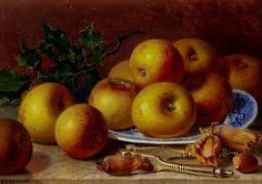 Natureza morta com maçãs, quebra-nozes, avelãs e prato azul Eloise Harriet Stannard (Inglaterra, 1829-1915) óleo sobre tela