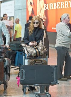 Jessica Chastain breezed through Londons Heathrow Airport on Friday 31 May 2013.