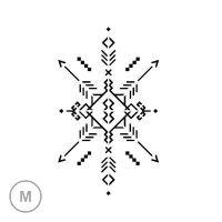 Motif géométrique aux origines aztèques formé de lignes symétriques en diagonales. Ce pochoir va vous permettre de réaliser un tatouage temporaire sobre et harmonieux sur le bas du dos, le mollet, le haut du bras, etc. Dimensions du motif : 14 cm x 8,5 cm.
