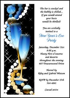 read all about the suggested etiquette for new years champagne glasses party invitation cards at invitationsbyu