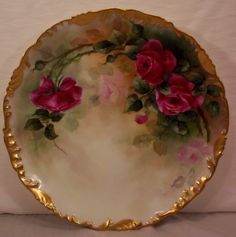 "T&V Limoges Charger Hand Painted Roses / Artist Signed ""C.A.B."" on Back.  Tressemann & Vogt Factory Mark in Green with ""Limoges France Depose"". Circa 1910 /895"
