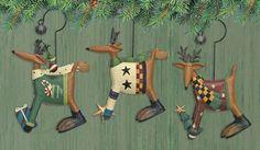 Holiday Deer Folk Art Ornaments Set of Three