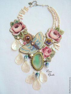 Купить Лето - бохо стиль, лето 2013, колье с цветами, цветы и бабочки, бабочка, агат