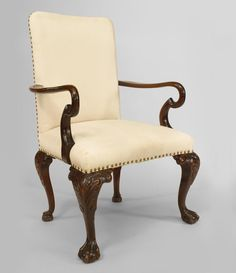English Chippendale seating chair/arm chair-pair mahogany