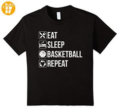 Funny Eat Sleep Basketball Repeat T-Shirt Kinder, Größe 140 Schwarz (*Partner-Link)